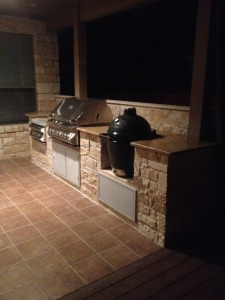 countersunk egg built into outdoor kitchens austin